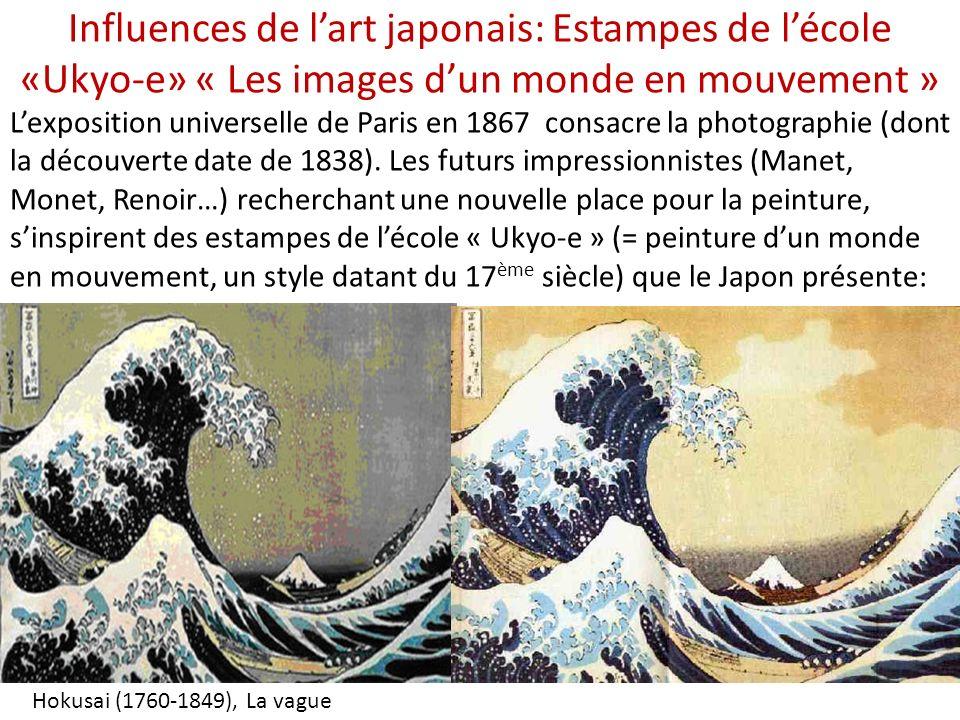 Influences de l'art japonais: Estampes de l'école «Ukyo-e» « Les images d'un monde en mouvement »