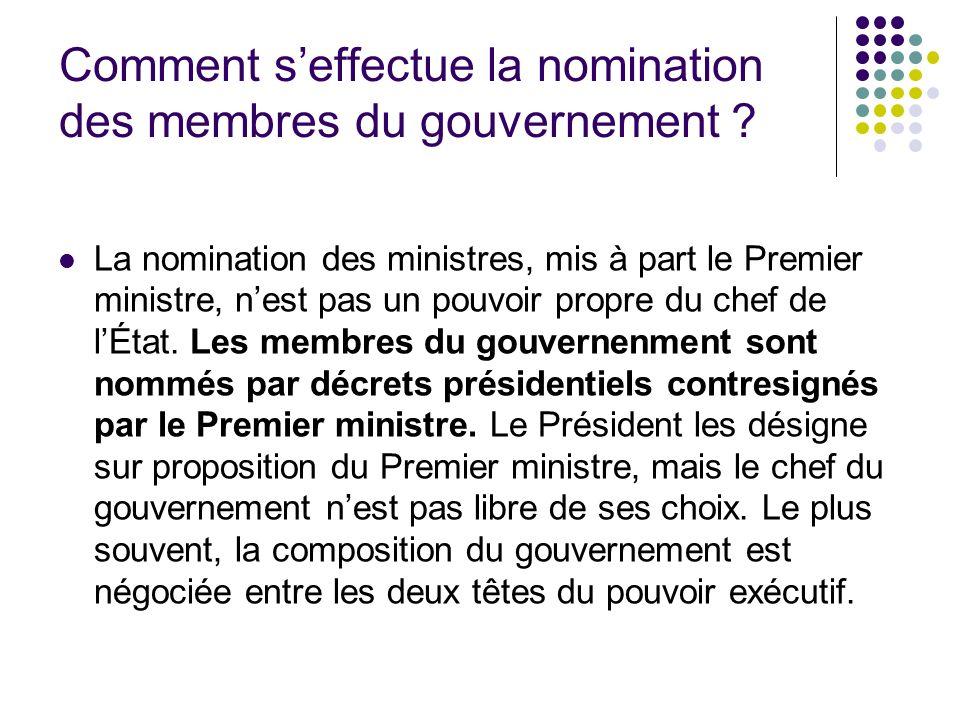 Comment s'effectue la nomination des membres du gouvernement