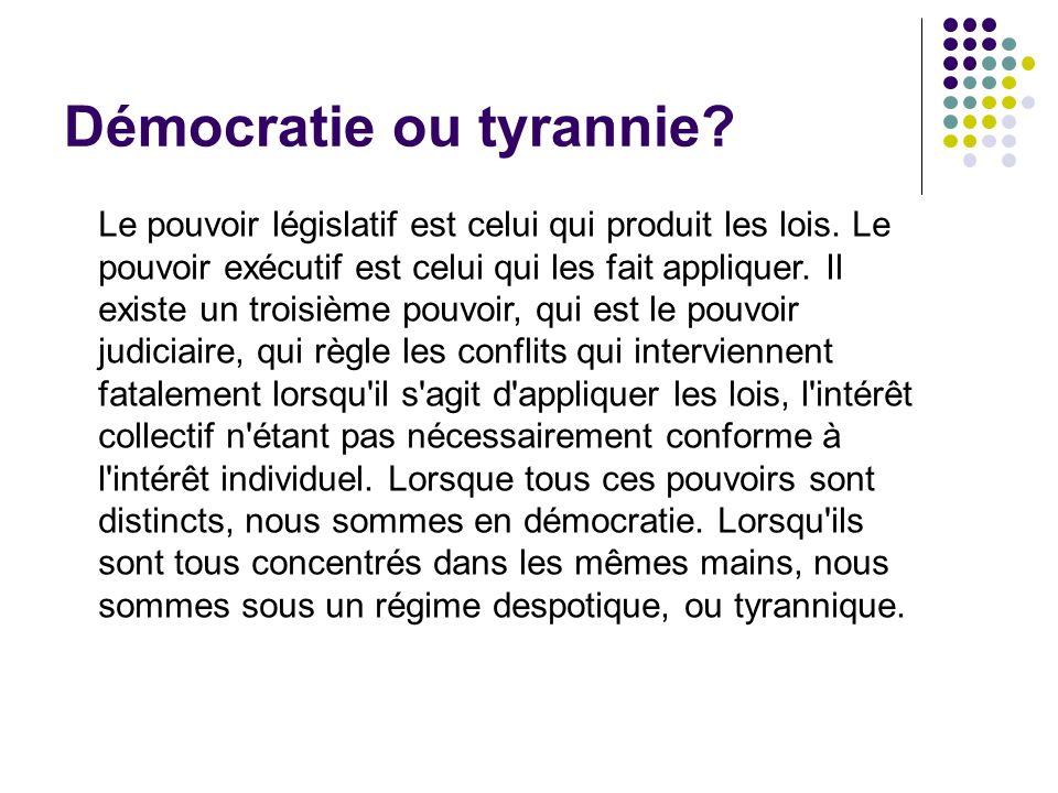 Démocratie ou tyrannie