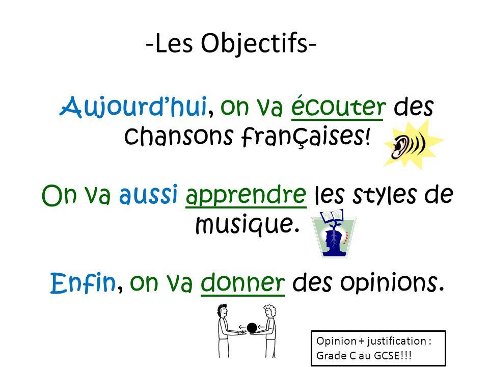 -Les Objectifs- Aujourd'hui, on va écouter des chansons françaises!