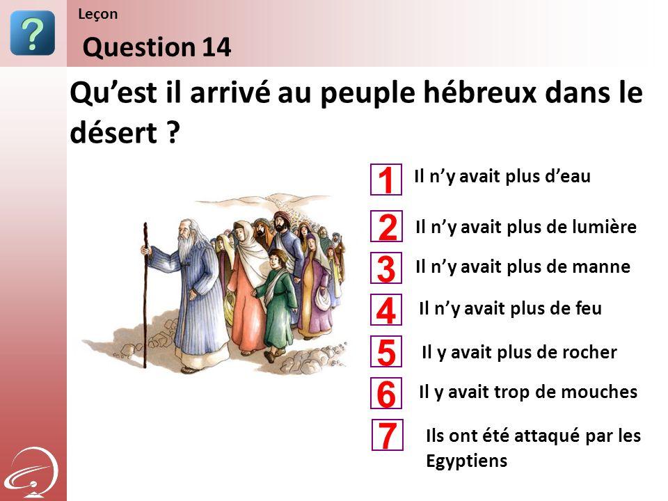 1 2 3 4 5 6 7 Qu'est il arrivé au peuple hébreux dans le désert