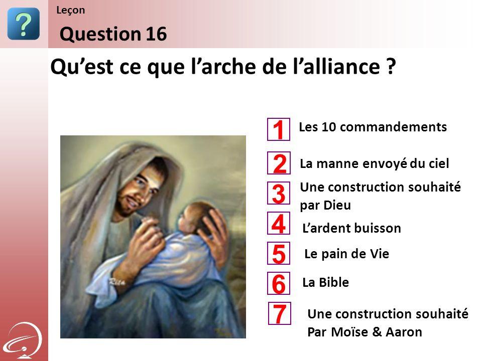 1 2 3 4 5 6 7 Qu'est ce que l'arche de l'alliance Question 16