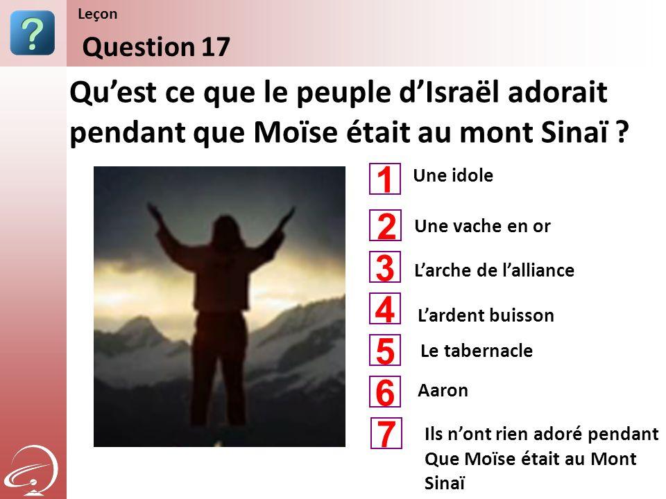Leçon Content Starter Set. Question 17. Qu'est ce que le peuple d'Israël adorait pendant que Moïse était au mont Sinaï