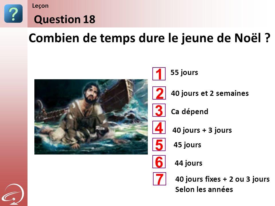1 2 3 4 5 6 7 Combien de temps dure le jeune de Noël Question 18