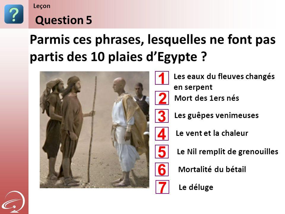 Leçon Content Starter Set. Question 5. Parmis ces phrases, lesquelles ne font pas partis des 10 plaies d'Egypte