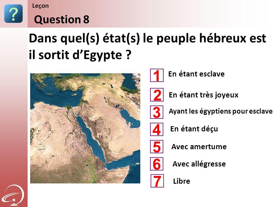 Leçon Content Starter Set. Question 8. Dans quel(s) état(s) le peuple hébreux est il sortit d'Egypte