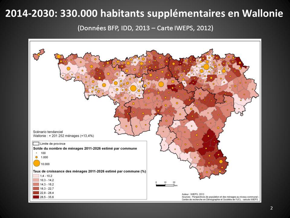 2014-2030: 330.000 habitants supplémentaires en Wallonie (Données BFP, IDD, 2013 – Carte IWEPS, 2012)