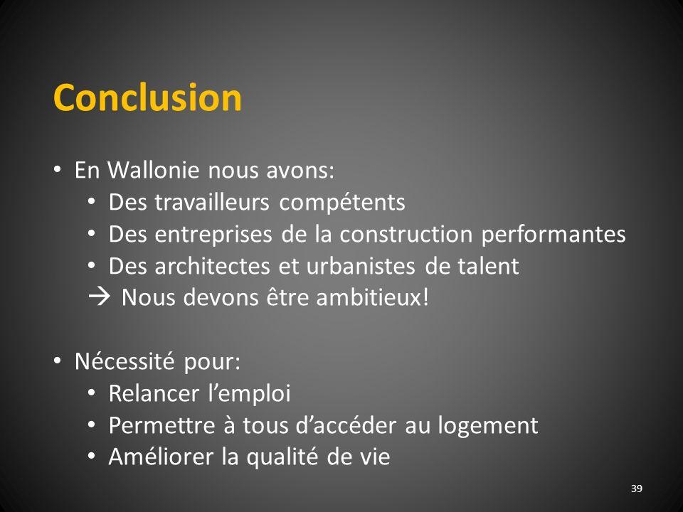 Conclusion En Wallonie nous avons: Des travailleurs compétents