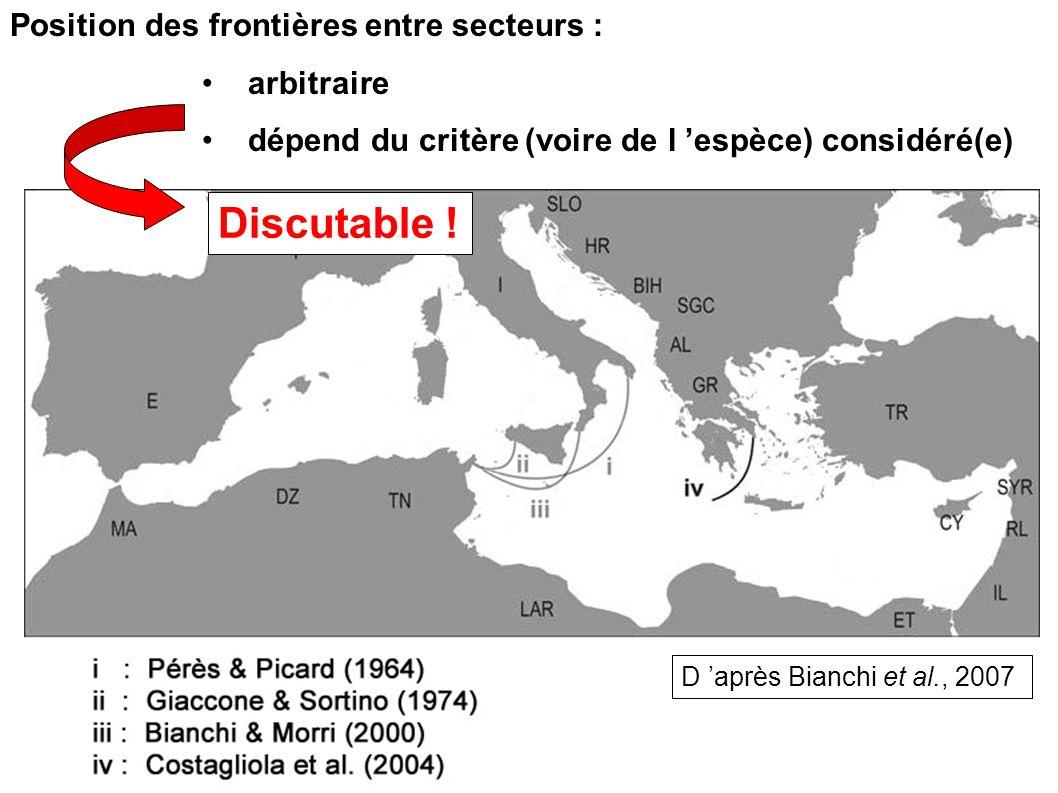 Discutable ! Position des frontières entre secteurs : arbitraire