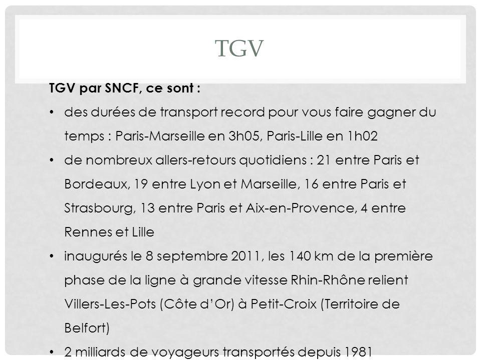 TGV TGV par SNCF, ce sont :