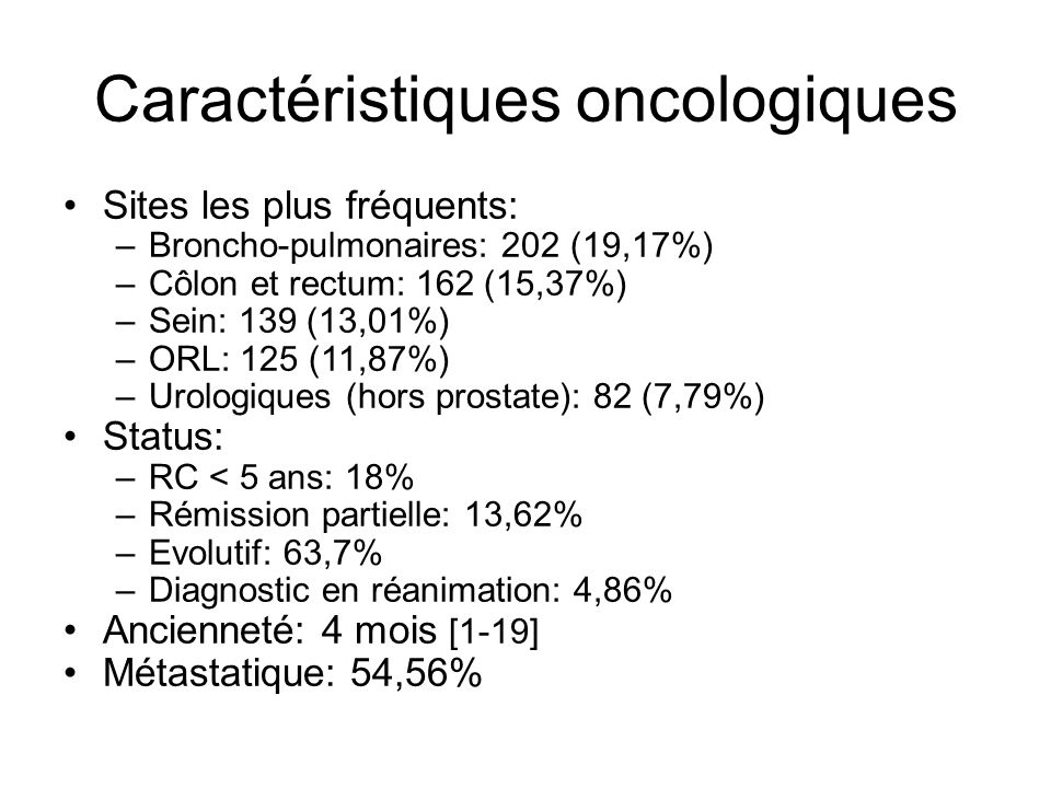 Caractéristiques oncologiques