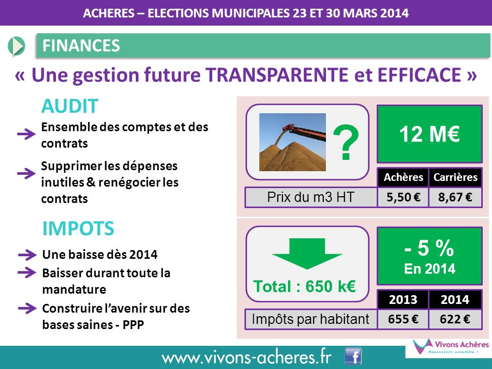 « Une gestion future TRANSPARENTE et EFFICACE » AUDIT 12 M€ IMPOTS