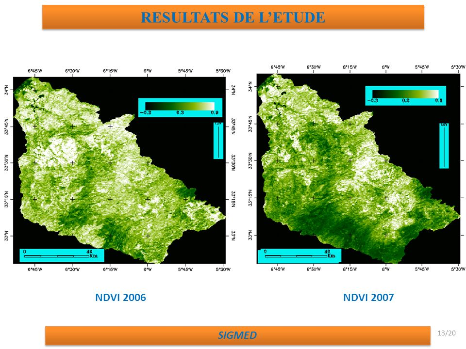 RESULTATS DE L'ETUDE NDVI 2006 NDVI 2007 SIGMED