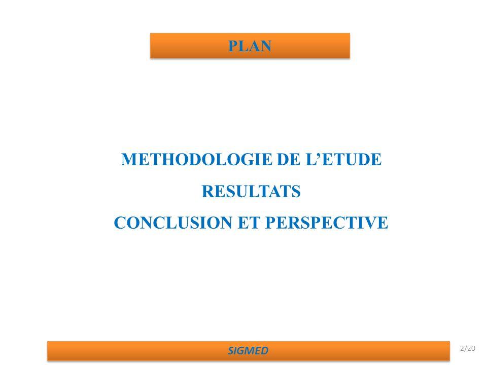 METHODOLOGIE DE L'ETUDE CONCLUSION ET PERSPECTIVE