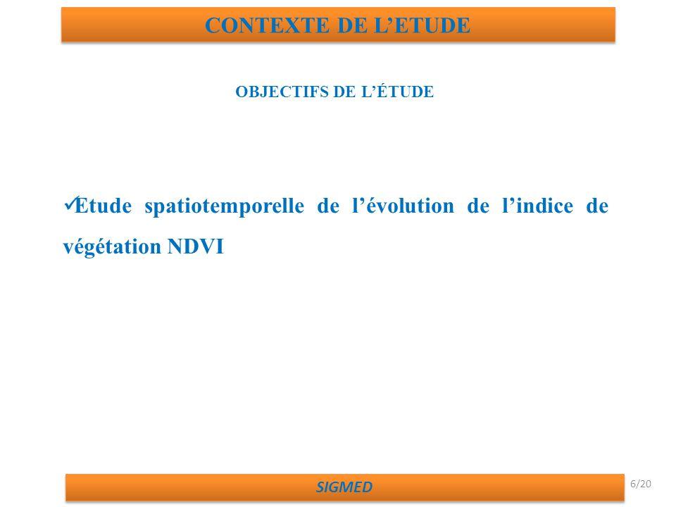 Etude spatiotemporelle de l'évolution de l'indice de végétation NDVI