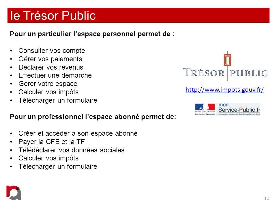 le Trésor Public Pour un particulier l'espace personnel permet de :