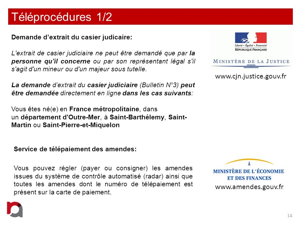 Téléprocédures 1/2 www.cjn.justice.gouv.fr www.amendes.gouv.fr