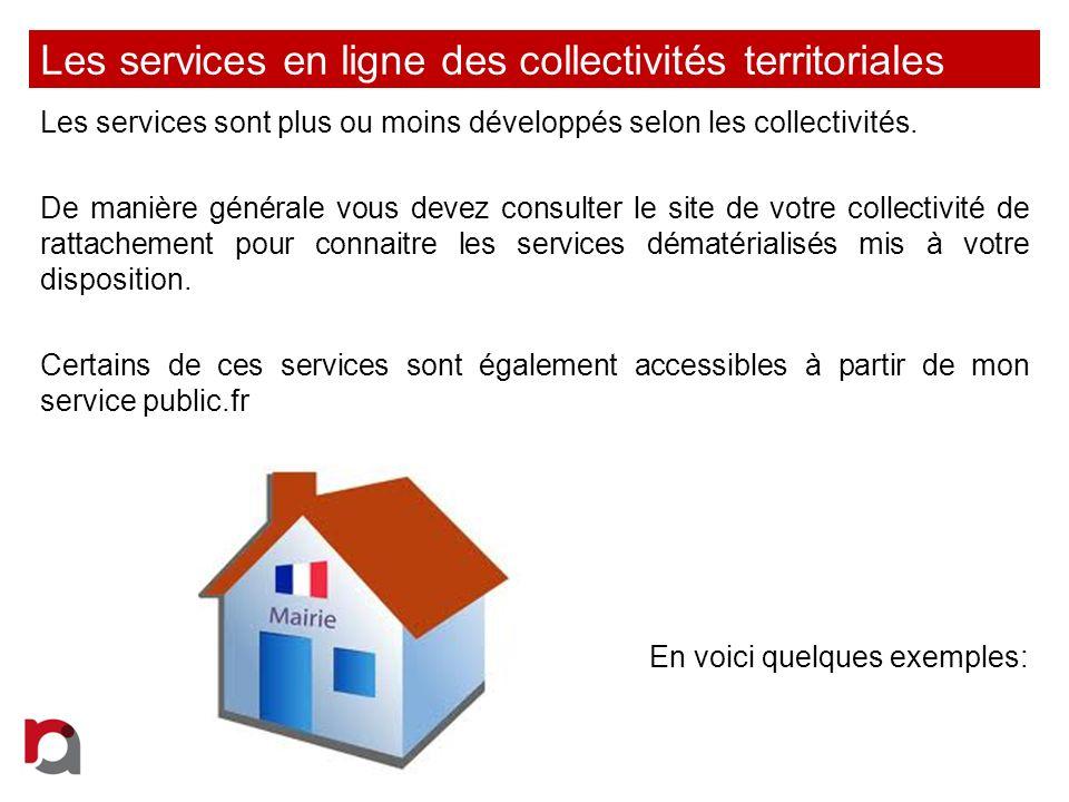 Les services en ligne des collectivités territoriales