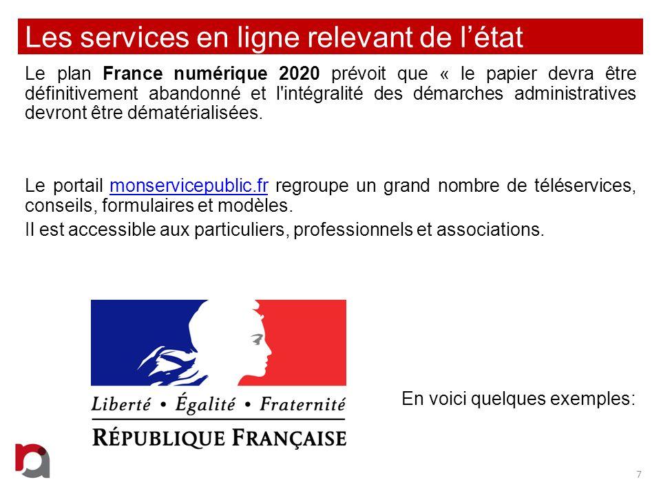 Les services en ligne relevant de l'état