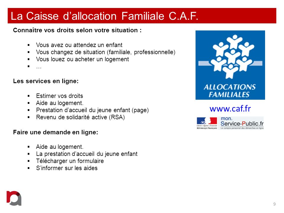 La Caisse d'allocation Familiale C.A.F.