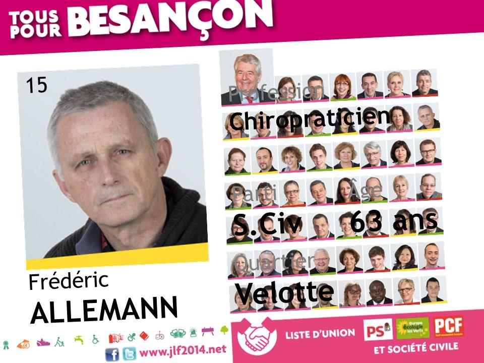 63 ans S.Civ Velotte ALLEMANN Chiropraticien 15 Profession Âge Parti