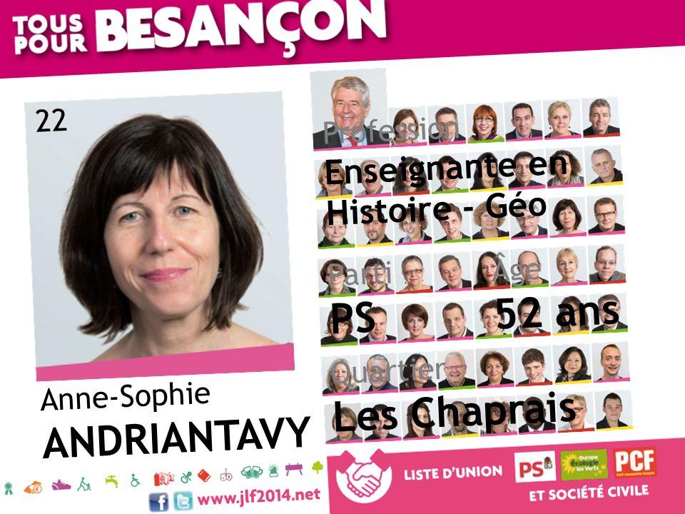 52 ans PS Les Chaprais ANDRIANTAVY Enseignante en Histoire - Géo 22