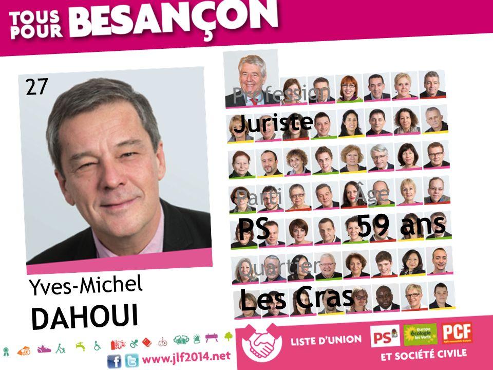 59 ans PS Les Cras DAHOUI Juriste 27 Profession Âge Parti Quartier