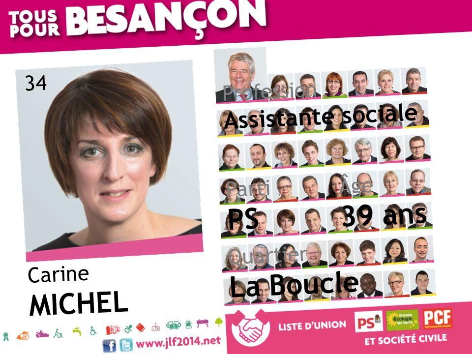 39 ans PS La Boucle MICHEL Assistante sociale 34 Profession Âge Parti