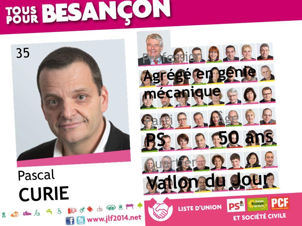 50 ans PS Vallon du Jour CURIE Agrégé en génie mécanique 35 Profession