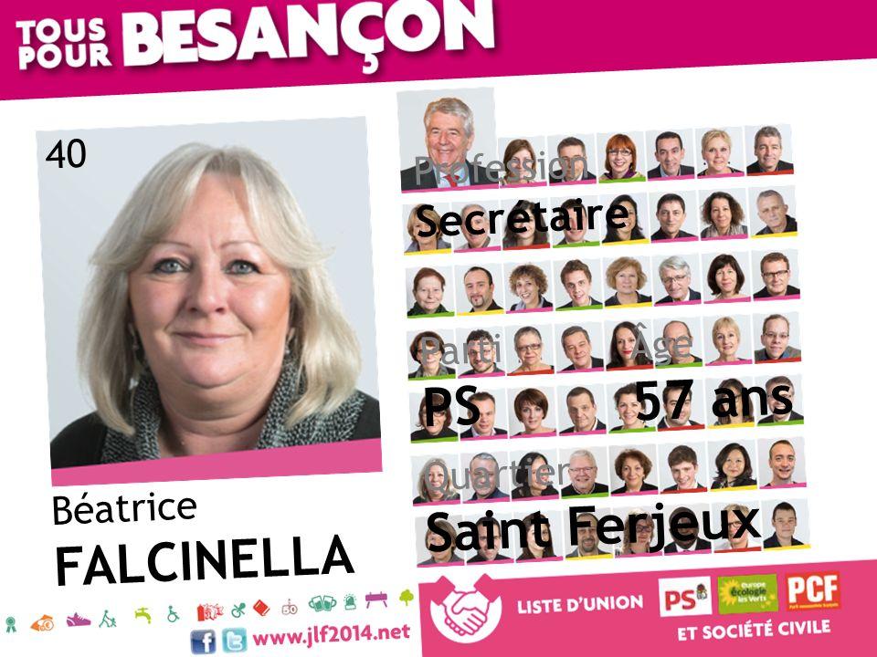 57 ans PS Saint Ferjeux FALCINELLA Secrétaire 40 Profession Âge Parti