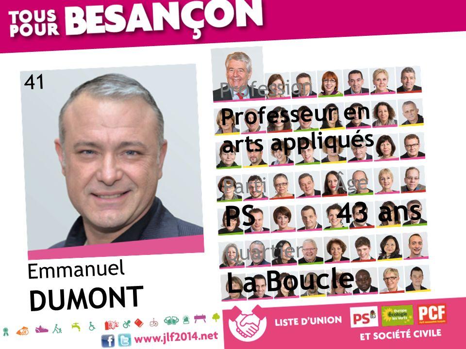 43 ans PS La Boucle DUMONT Professeur en arts appliqués 41 Profession