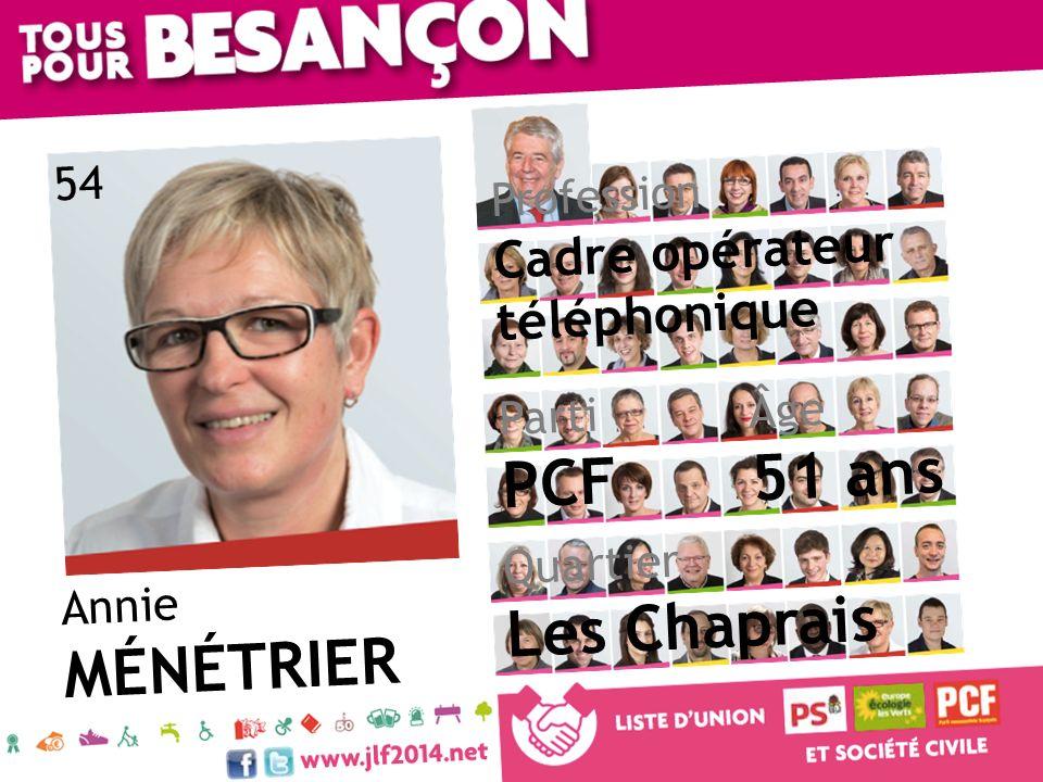 51 ans PCF Les Chaprais MÉNÉTRIER Cadre opérateur téléphonique 54