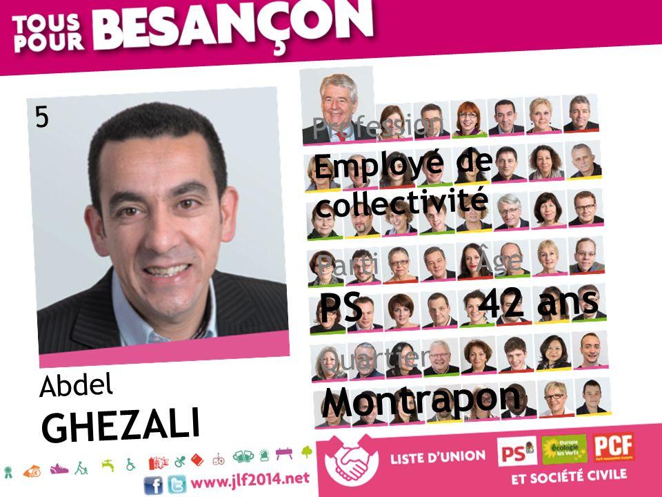 42 ans PS Montrapon GHEZALI Employé de collectivité 5 Profession Âge