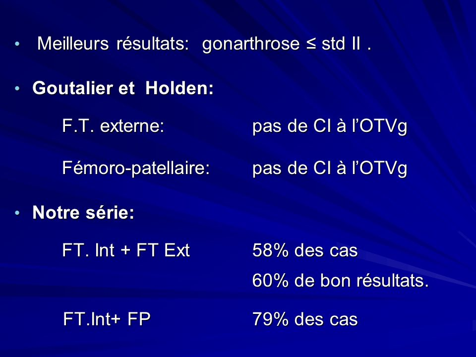 Meilleurs résultats: gonarthrose ≤ std II . Goutalier et Holden: