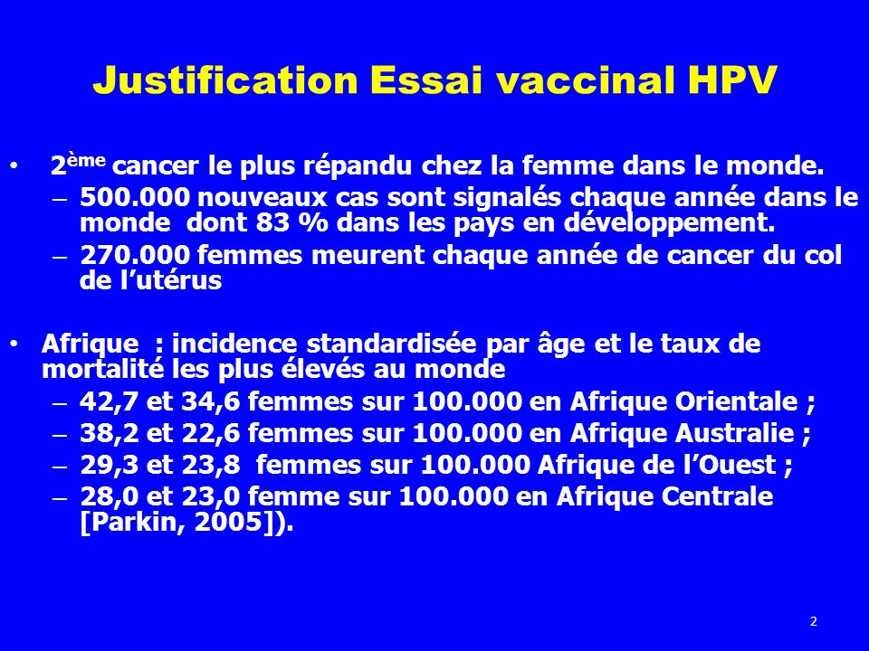 Justification Essai vaccinal HPV