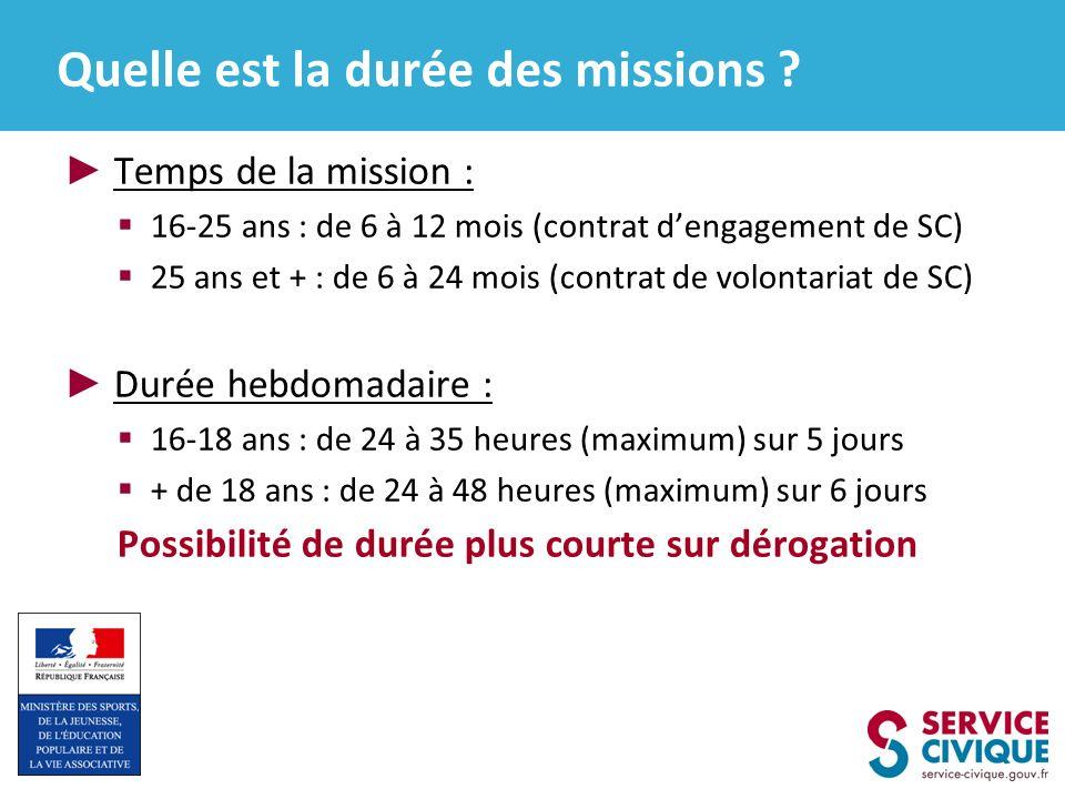 Quelle est la durée des missions