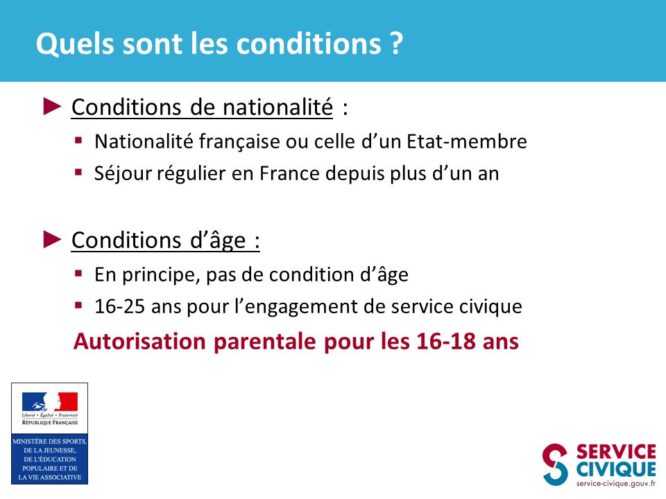 Quels sont les conditions