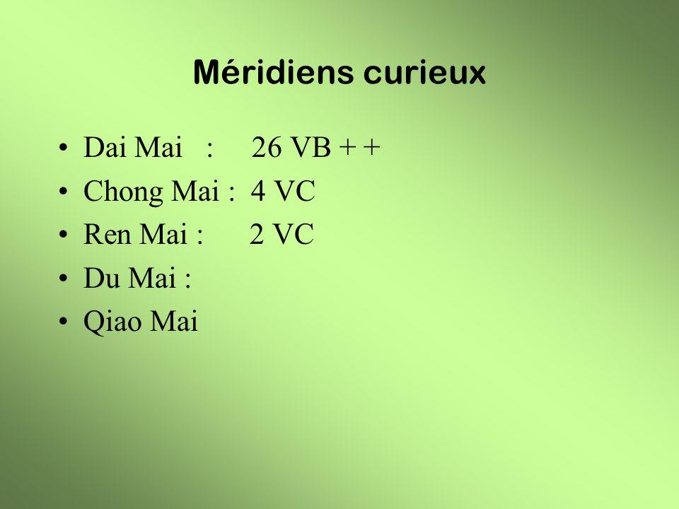 Méridiens curieux Dai Mai : 26 VB + + Chong Mai : 4 VC Ren Mai : 2 VC