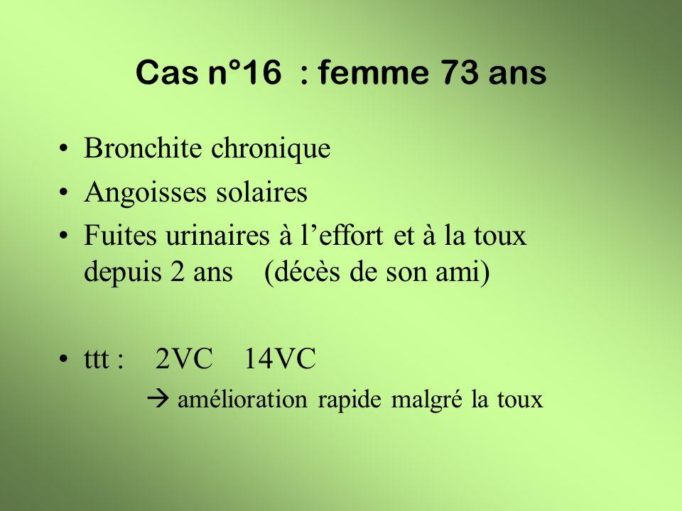 Cas n°16 : femme 73 ans Bronchite chronique Angoisses solaires