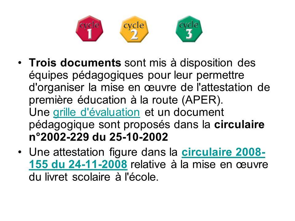 Trois documents sont mis à disposition des équipes pédagogiques pour leur permettre d organiser la mise en œuvre de l attestation de première éducation à la route (APER). Une grille d évaluation et un document pédagogique sont proposés dans la circulaire n°2002-229 du 25-10-2002