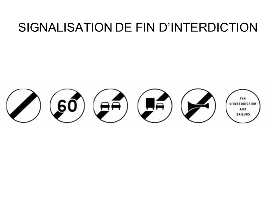 SIGNALISATION DE FIN D'INTERDICTION