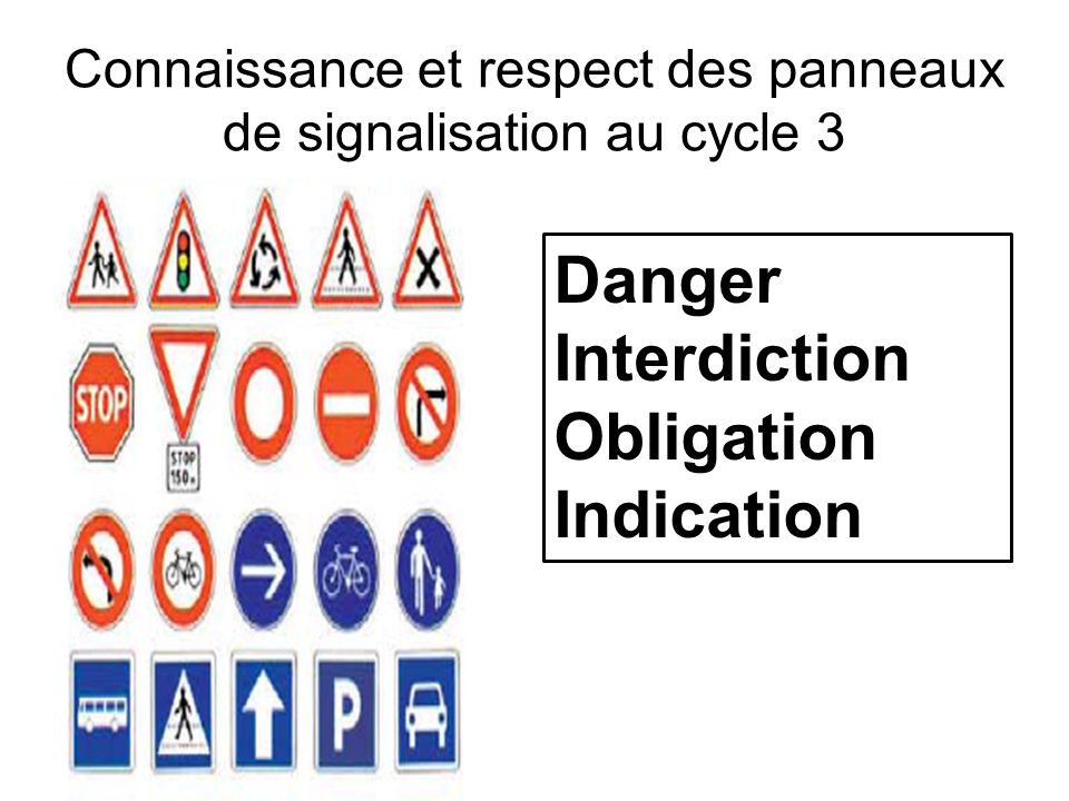 Connaissance et respect des panneaux de signalisation au cycle 3