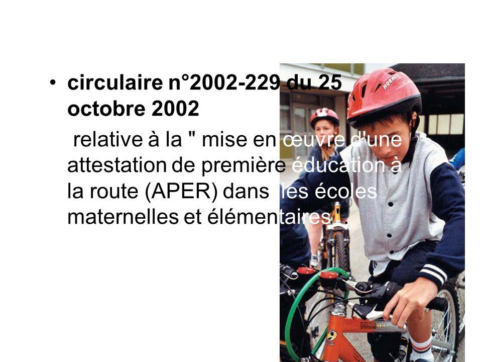 circulaire n°2002-229 du 25 octobre 2002