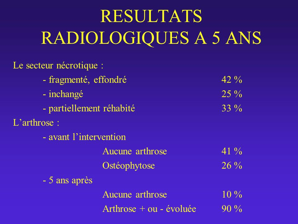 RESULTATS RADIOLOGIQUES A 5 ANS