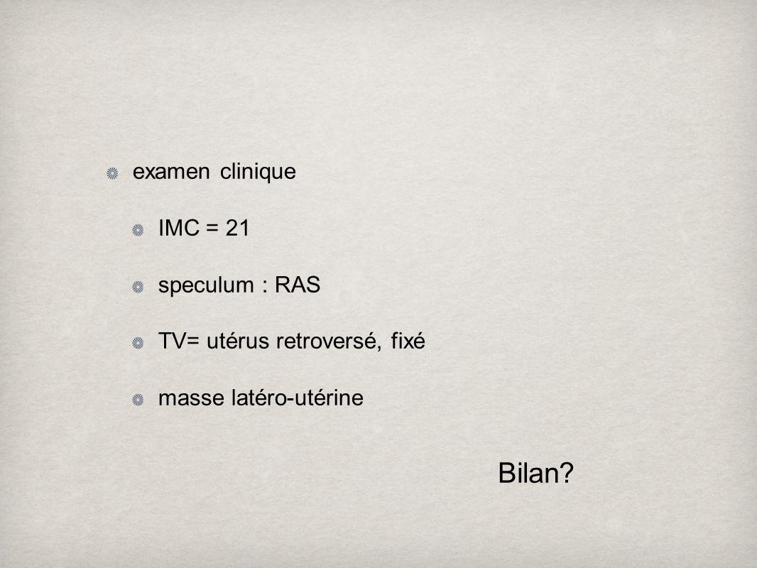 Bilan examen clinique IMC = 21 speculum : RAS