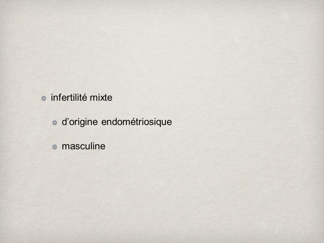 infertilité mixte d'origine endométriosique masculine