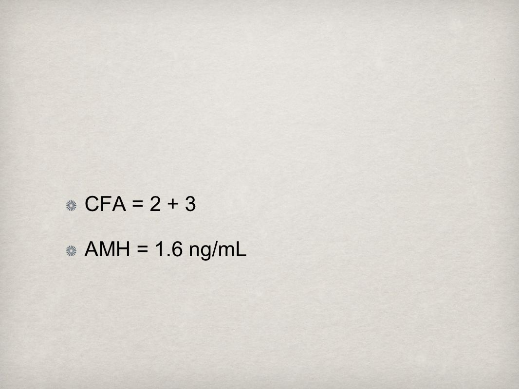 CFA = 2 + 3 AMH = 1.6 ng/mL