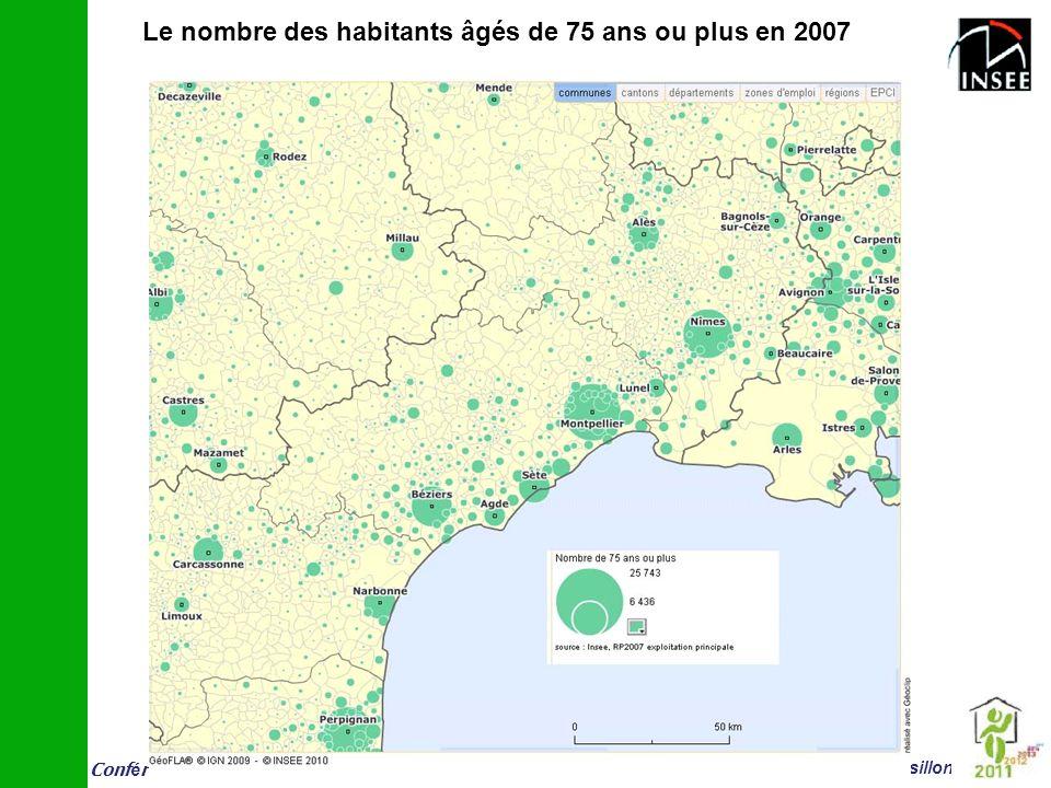 Le nombre des habitants âgés de 75 ans ou plus en 2007