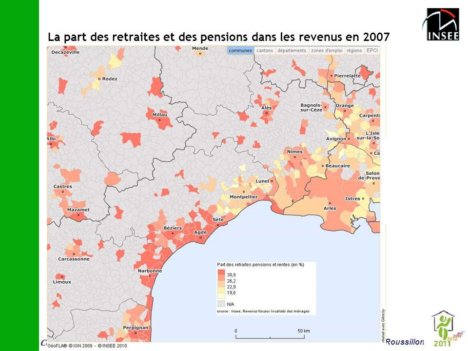 La part des retraites et des pensions dans les revenus en 2007