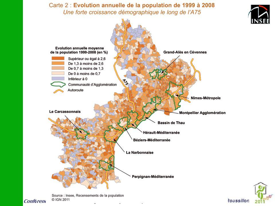 Les taches rouges foncés sont les communes où la population a augmenté le + entre 1999 et 2008. Les tâches claires inversement correspondent à une faible croissance. Le bleu correspond à des baisses de population.